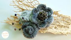Gray crocheted flowers roses wool brooch by BlueMoonFashionStore