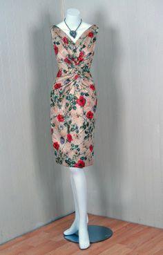 Cocktail Dress, Ceil Chapman: ca. 1950's, watercolor floral metallic silk brocade, silk.