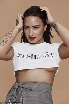 Feminist: Demi Lovato showed off her fantastic figure as she flashed underboob and toned tummy in a cropped 'feminist' top in the October issue of Notion Magazine