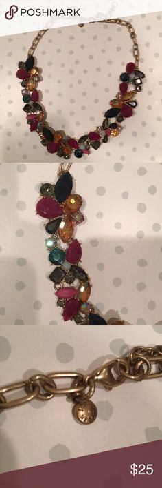 J. Crew multi-colored jewel necklace This pretty J. Crew necklace has pink, yellow, black, and gray stones with a gold chain. New without tags J. Crew Jewelry Necklaces
