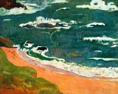 Paul Gauguin schilderijen Paul Gauguin schilderijen - Strand bei Le Pouldu. (Collection Henry Ford II.)