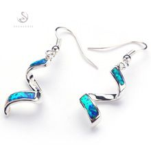 Fashion Trendy Blue opal Silver Plated Promotion Recommend Hot Favourite Time limited discount Free shipping Drop Earrings E4001(China (Mainland))