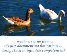.. #weakness is no #flaw ... it's just documenting #limitations ... being stuck in infantile #competencies!