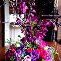#c2mdesigns #floral #floraldesign #centerpiece #wedding #cardtable #manzanita #jeweltones #roses #orchids #dendrobiums #thistle #lisianthus #formal #rustic #branches #nyyc #newport #yachtclub #designsthatrock #maaikebernstromphotography #likeC2MdesignsFacebook Designer: #christinemccaffery
