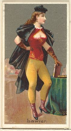 """The """"Occupations for Women"""" series of trading cards was issued by Goodwin & Company in 1887 to promote Old Judge and Dogs Head Cigarettes. The Metropolitan Museum of Art owns all 50 cards in the series, as well as three duplicate cards Vintage Photographs, Vintage Images, Vintage Posters, Vintage Art, Vintage Ladies, Women Lawyer, Vintage Advertisements, Sports Women, Art History"""