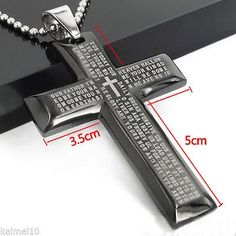 nice New Gift Unisex's Men Stainless Steel Cross Pendant Black Silver Bible Necklace - For Sale Check more at http://shipperscentral.com/wp/product/new-gift-unisexs-men-stainless-steel-cross-pendant-black-silver-bible-necklace-for-sale/