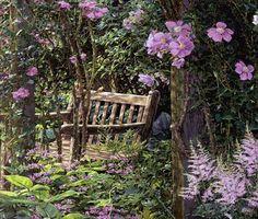 Violet Garden Respite by Doug Kreuger Violet Garden, Pink Garden, Hidden Garden, Garden Painting, Secret Places, Deck Design, Light Painting, Geraniums, Beautiful Artwork