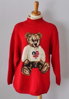 Ugly Christmas Sweater Men M women L teddy bear Red cotton jumper CS35 #EaglesEye #Turtleneck