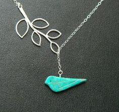 Turquoise bird necklace.