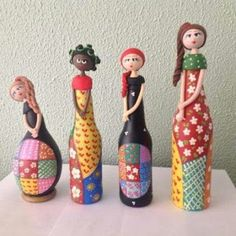 All Home: Recyclage - Diy Decora la Maison Wine Bottle Art, Diy Bottle, Wine Bottle Crafts, Jar Crafts, Wine Bottles, Glass Bottles, Hobbies And Crafts, Diy Crafts For Kids, Arts And Crafts