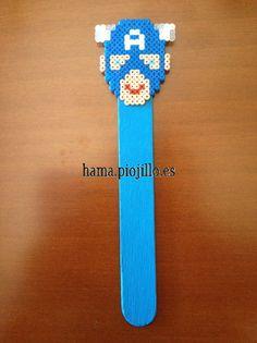 Captain America bookmark Hama mini beads by Ana Hama
