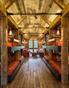 Rustic Cabin Bunk room with plenty of space for family and guests.