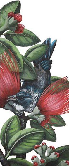 Angie Dennis Tui on Pohutukawa Print Art NZ New Zealand Art, Nz Art, Flora And Fauna, Types Of Art, Blackbirds, Art Prints, Crows, Ravens, Kiwi