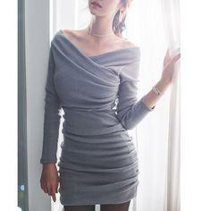 $25.38 Stylish V-Neck Long Sleeve Ruched Sweater Dress For Women