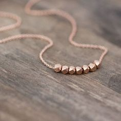 Rose Gold Nuggets Necklace / Simple Minimalist Pink Gold Necklace / Rose Gold Jewelry #GoldJewelry