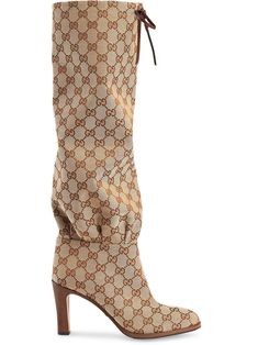 Shop online neutral Gucci GG canvas mid-heel boot as well as new season, new arrivals daily. Mid Calf Boots, Knee Boots, Heeled Boots, Fashion Brands, Fashion Accessories, Luxury Fashion, Fashion Shoes, Jersey Oversize, Designer Boots