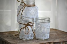 Set of three lace trimmed mason jars, rustic wedding decor, country wedding decor, cottage wedding decor