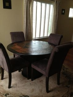 Slate Dining Table Round Slate Dining Table With Chairs