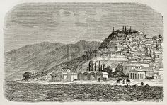 Picture of Old view of Nicomedia (nowadays Izmit) senior capital city of the Roman empire. Created by Gaiaud, published on Le Tour du Monde, Paris, 1864 stock photo, images and stock photography. Roman Empire, Capital City, Once Upon A Time, Romans, Istanbul, Louvre, Stock Photos, History, Places