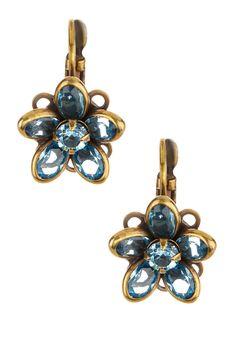 Crystal Flower Leverback Earrings