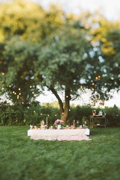 We love this party decor and set up on the lawn! Dreamy Summer Garden Party | The Merrythought