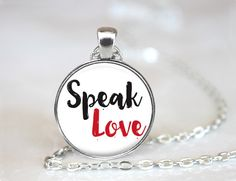 Speak Love Inspirational Quote Changeable Magnetic Pendant Necklace with Organza Bag by HappyBugDesigns on Etsy