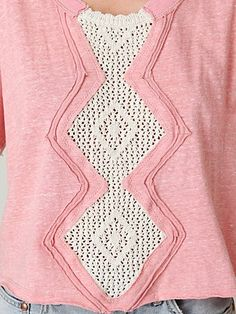 Add crochet lace panel to old sweatshirt
