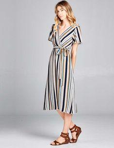 c0fac2dbf51 Nursing Friendly Striped Wrap Dress. 98% POLYESTER 2% SPANDEX Faux wrap  neckline Short