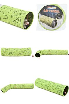 [Visit to Buy] Pet Tunnel Cat Printed Green Lovely Crinkly Kitten Tunnel Toy With Ball  Play Fun Toy Tunnel  Bulk Cat Toys  Rabbit Play Tunnel #Advertisement