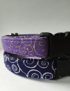 Navy Swirl Dog Collar Handmade by UptownPetwear on Etsy