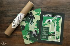 camoflauge army map birthday party invitations