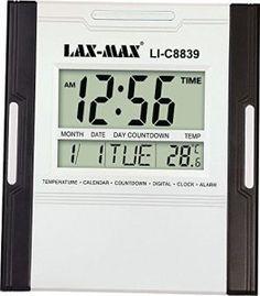 Jaras, Lax-Max Large LED Digital Wall Clock with Temperature & Calendar