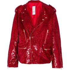 Ashish Sequined cotton biker jacket ($1,925) ❤ liked on Polyvore featuring outerwear, jackets, red sequin jacket, red biker jacket, motorcycle jacket, embellished jacket and sequined jackets