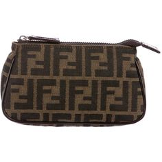 002825b37d Pre-owned Fendi Canvas Zucca Pouch (£125) ❤ liked on Polyvore featuring bags