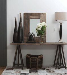 Entry Table Ideas - What is an entry table? If you own a company or an office, an entry table is very important. Entrance Table, Entry Tables, Pine Bedroom Furniture, Rustic Furniture, Office Furniture, Home Interior, Interior Design Living Room, Home Living Room, Living Room Decor