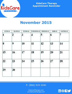 Use this November 2015 editable PDF calendar to plan out your Speech, Physical, or Occupational therapy for the month!