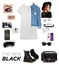 """""""The new black 😁"""" by tiffany-london-1 ❤ liked on Polyvore featuring Olive + Oak, Topshop, Dr. Martens, Erika Cavallini Semi-Couture, ASOS, Givenchy, Jeffree Star, Panacea, Blue Nile and Pura Vida"""