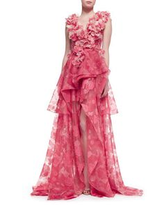 Sleeveless Petal-Applique Gown by Christian Siriano at Neiman Marcus.