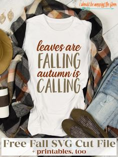 I love this fall shirt and the colors This free Leaves are Falling Autumn is Calling Design is available in both SVG and Printables Vinyl Shirts, Tee Shirts, Printable Designs, Printables, Fall Shirts, Personalized T Shirts, Casual Elegance, Diy Shirt, Custom T