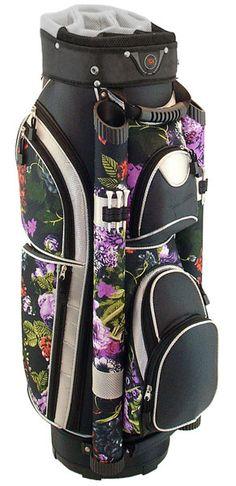 A perfect way to organize golf stuff, through Black Floral Hunter Eclipse Ladies Cart Golf Bag! #golfaccessories #golfessentials #lorisgolfshoppe