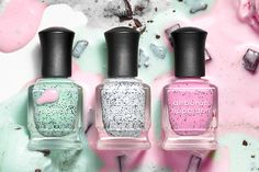 Deborah Lippmann Spring collection. Ice-cream inspired nail polishes in shades that look like mint chocolate chip, cookies and cream, and cotton candy ice creams!