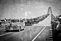 """Photo by Joanne Shedrick  Won 1st place """"A Bridge Through Time"""".   A opening ceremony parade for the new NY/VT crown point bridge over lake champlain.   Love the old cars that represented the date of the original bridge."""