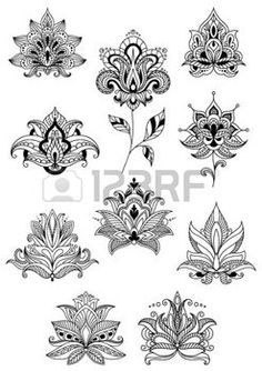 Indian flowers in ethno style with intricate curved petals adorned paisley ornamental elements for lace embellishment or romantic decoration design Foot Tattoos For Women, Sleeve Tattoos For Women, Mandala Foot Tattoo, Persian Tattoo, Indian Font, Indian Flowers, Lotus Flowers, Paisley Flower, Ethno Style
