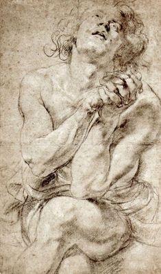 Peter Paul Rubens Study of Daniel in the Lions Den Art Print Poster Print - at . Rubens, Classic Art, Fine Art, History Painting, Peter Paul Rubens, Renaissance Art, Master Drawing, Figure Drawing, Art