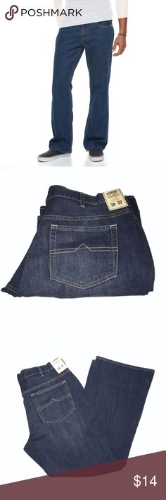 """Urban Pipeline Relaxed-Fit Bootcut Jeans 38x32 NWT BRAND NEW WITH TAG:   These men's Urban Pipeline relaxed-fit jeans are perfect for nearly any casual occasion.  MSRP. $44   PRODUCT FEATURES Zipper fly 5-pocket Subtle whiskering and faded details for a lived in look  FIT & SIZING Relaxed fit Boot cut Flat front  FABRIC & CARE 100% Cotton Machine wash  Actual measurements: rise: 11"""",  leg opening: 22"""" Urban Pipeline Jeans Bootcut"""