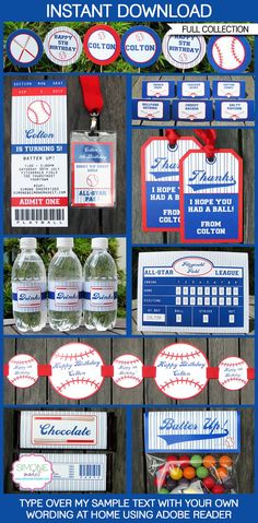 Type your own text into this HUGE BasBaseball Birthday Party Decorations & Invitation package.  INSTANTLY DOWNLOAD this digital PDF file that you personalize at home. Edit and print each page as many times as you like.  You edit ALL of the text in this package by yourself at home - just open the file in Adobe Reader and type over my sample text.  ------------------------------------------ WHAT YOU WILL RECEIVE ------------------------------------------ You will receive ALL of the following…