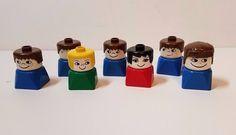 Vintage 1979 Lego Duplo Minifig Mini Figure Pilot Boy Girl Man Woman People Lot #LEGO