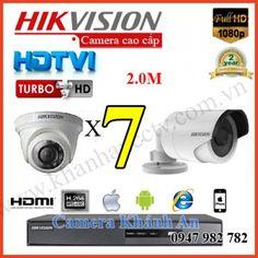 Lắp trọn gói 7 camera quan sát HIKVISION 2.0M 1080P độ phân giải 2.0 Megapixel, siêu nét, Miễn phí lắp đặt, LH 0947 982 782