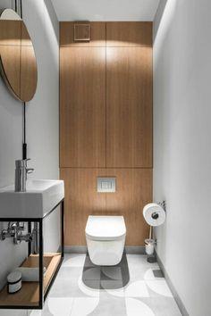 Beniowskiego Apartment by Raca Architekci « HomeAdore Simple Bathroom Designs, Modern Bathroom Design, Bathroom Interior Design, Tiny Bathrooms, Beautiful Bathrooms, Small Bathroom, Bathroom Rules, Office Bathroom, Toilet Room Decor