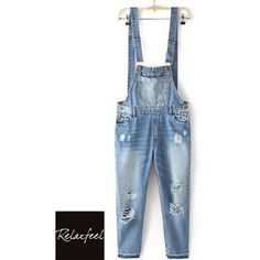 Relaxfeel Women's Blue Casual Denim Strap Pants (£24) ❤ liked on Polyvore featuring pants, blue pants and blue trousers